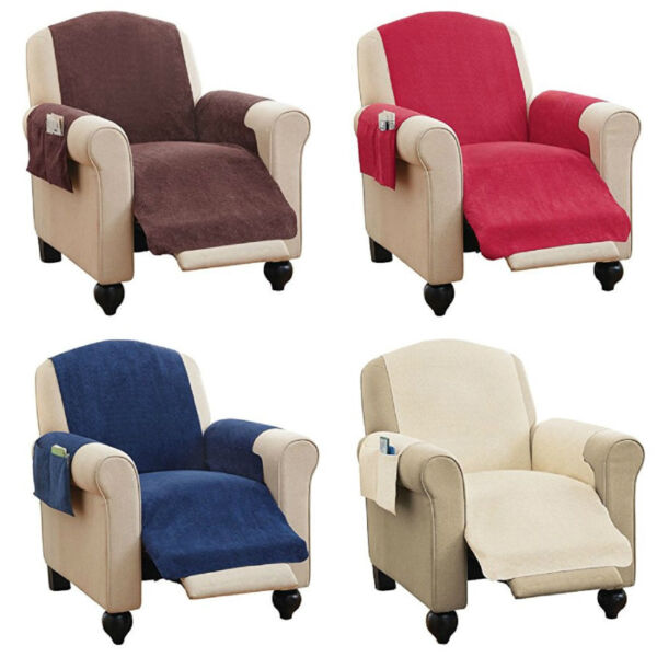 Faux Chenille Recliner Chair Furniture Cover amp; Pockets 4 Colors READ DESCRIPTION $17.56