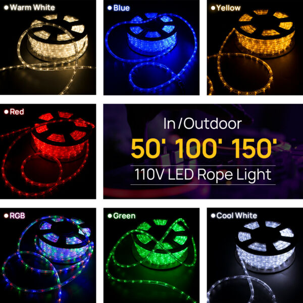 50' 100' 150' LED Rope Light 110V Party Home Christmas Outdoor 2-Wire Lighting