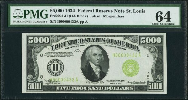 FR. 2221-H 1934 $5000 FRN FEDERAL RESERVE NOTE PMG CHOICE UNCIRCULATED-64
