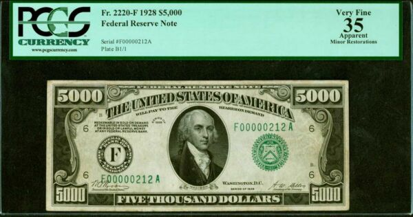 FR. 2220-F 1928 $5000 FIVE THOUSAND FRN FEDERAL RESERVE NOTE PCGS VERY FINE-35