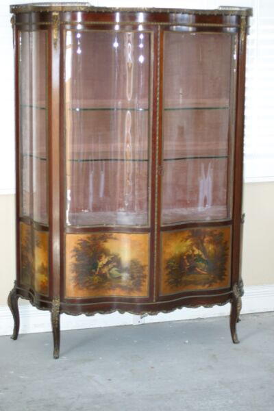 ANTIQUE FRENCH VERNIS MARTIN VITRINE SHOWCASECURVED GLASS DOORS HAND PAINTED