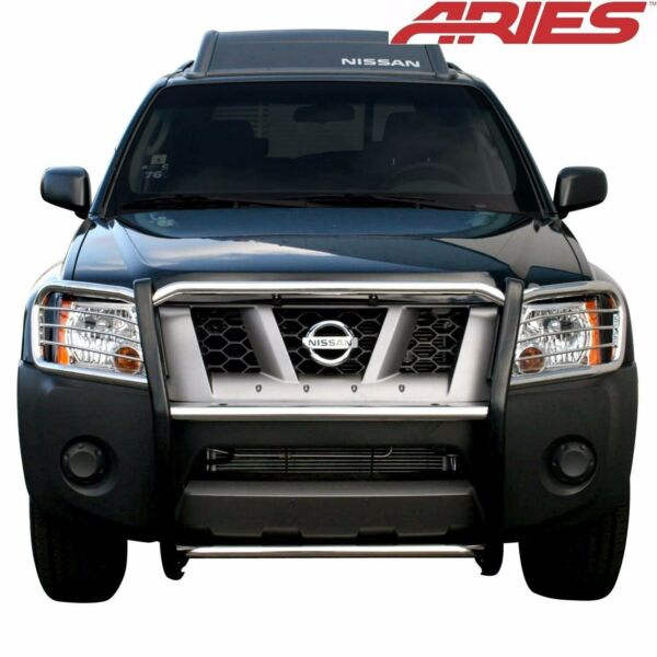 Aries 9048 2 Stainless Grill Brush Guard Push Fits 2005 2015 Nissan Xterra