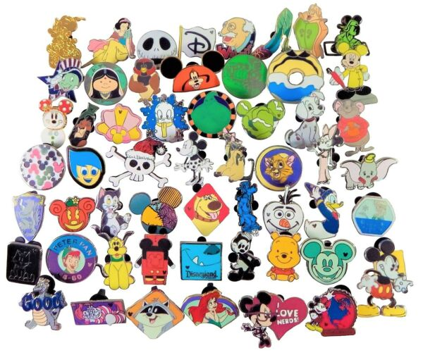 Disney Pin Trading 40 Assorted Pin Lot - Brand NEW Pins - No Doubles - Tradable