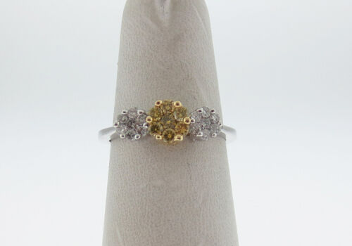 Natural YellowColorless Genuine Diamonds Solid 14K Two Tone Gold Ring FREE Sizi