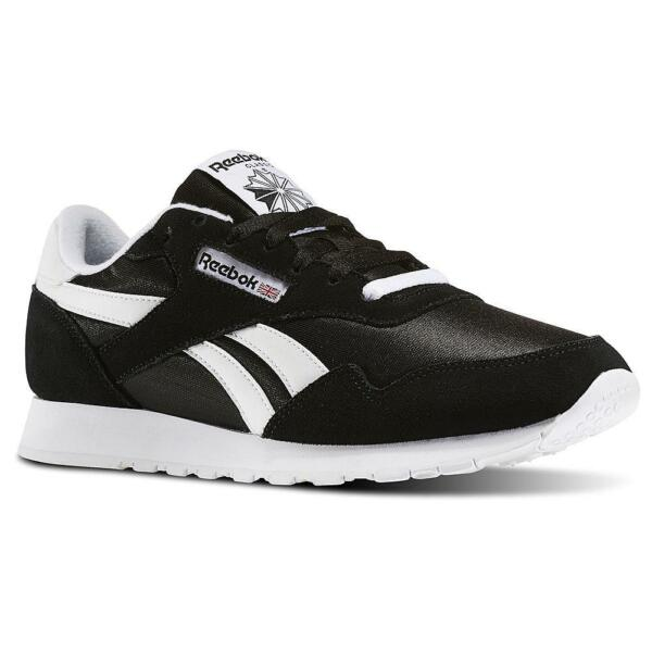 Reebok Royal Nylon BD1553 Black White Mens Shoes Sneakers Sizes