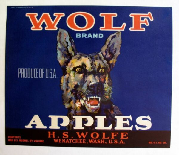 Rare 1920s Vicious Wolf Apple Crate Label