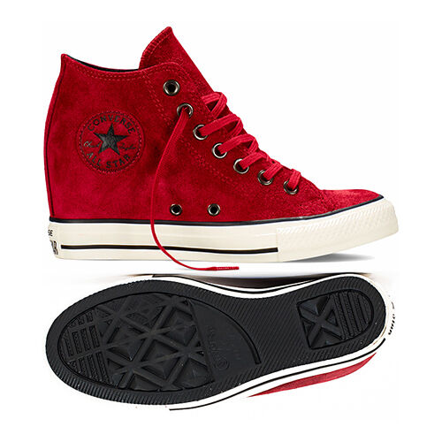 Converse Chuck Taylor All Star CT Lux Mid 550671C Suede Dahlia Wedge Women Shoes