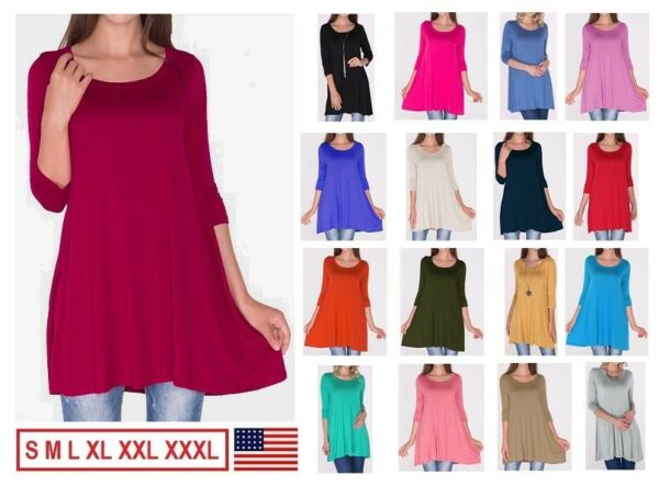 NEW Womens 3 4 Sleeve Tunic Top Dress Round Neck Blouse USA S M L XL Plus 2X 3X $10.99