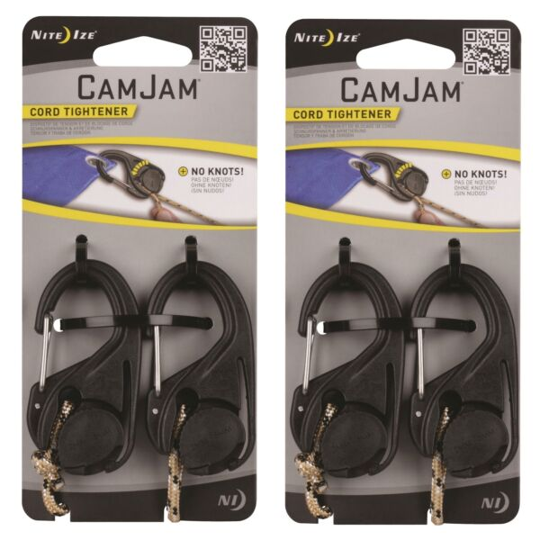Nite Ize CamJam Cord Tightener w Rope Lightweight Sturdy Durable (2-Pack of 2)