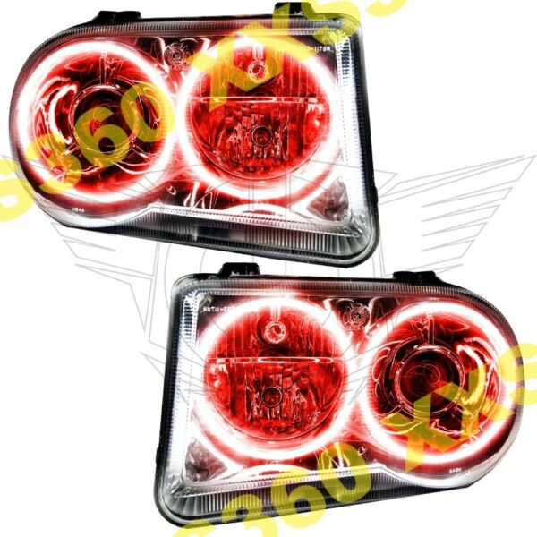 ORACLE Halo 2x HEADLIGHTS HID Style for Chrysler 300 300C V8 05-10 RED LED
