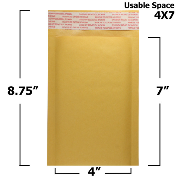 25 Pack 4quot; x 7quot; #000 Kraft Bubble Mailers Self Seal Padded Shipping Envelopes
