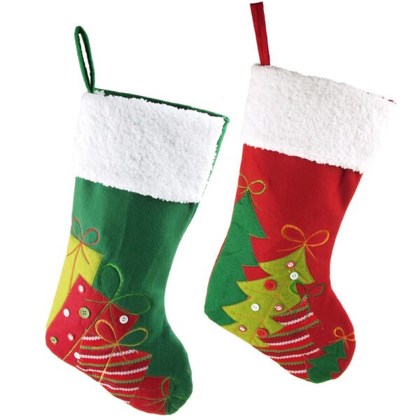 Christmas Stockings Holiday Decor Burlap Linen Cotton Polyester