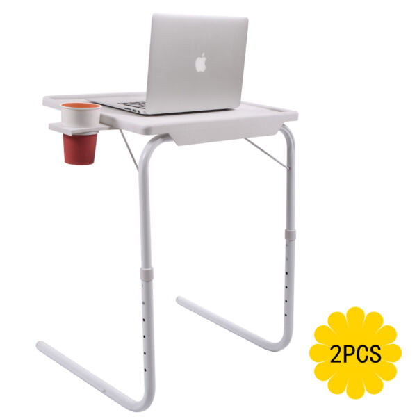2 Smart Table Folding Adjustable Tray Foldable Desk WCup Holder