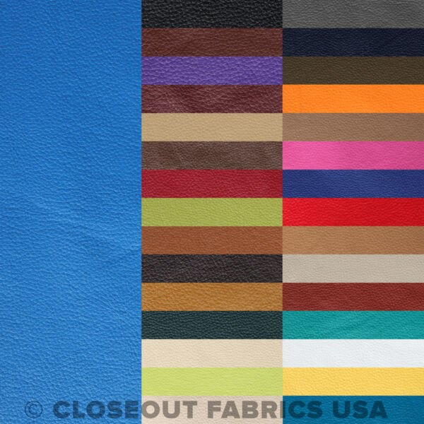 DISCOUNT VINYL LEATHER FABRIC UPHOLSTERY - 31 COLORS - 54