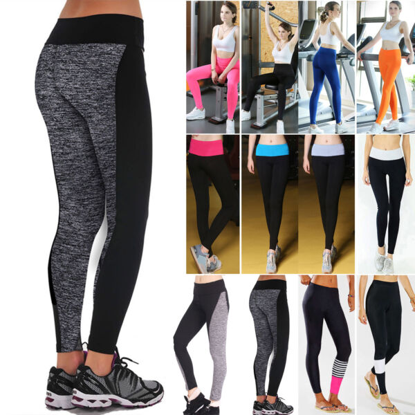Damen Fitness Tights Freizeit Yoga Pant Stretch Sport Laufhose Gym Trainingshose