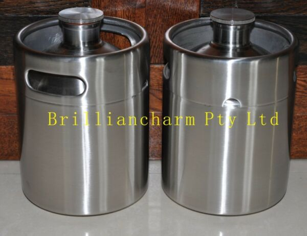 6*  2L 64 oz stainless steel beer keg growler craft beer bar brewery bottle