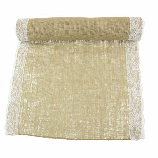 Burlap Table Runner With Lace 15 foot and 30 Foot Options Wholesale  ⭐️⭐️⭐️⭐️⭐️