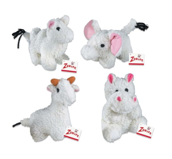 Fleecy Friends Soft Squeaker Dog Toy Camel Hippo Elephant Llama or Set of 4 Toys
