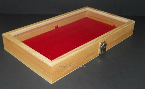 Natural Wood Glass Top Red Pad Display Box Case Militaria Medals Jewelry Knife $46.99