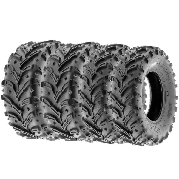 SunF 25x8-12 25x10-12  AT Dirt & Mud ATV UTV Tires 6 PR   A024-1 [Bundle]