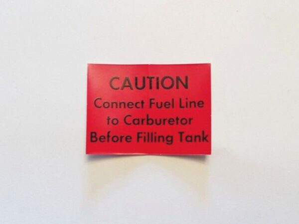 NOS 1971 74 Rupp Caution Connect Fuel Line Decal mini bike roadster scrambler $10.00