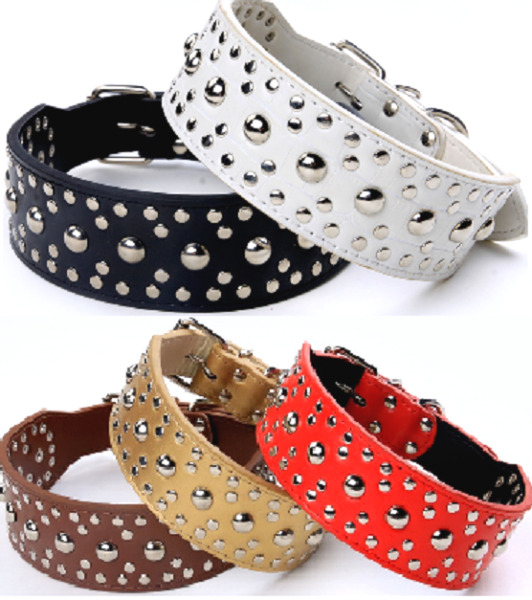 Studded Spiked Metal Dog Collar Faux Leather Large Pitbull Mastiff Spike L XL $12.34