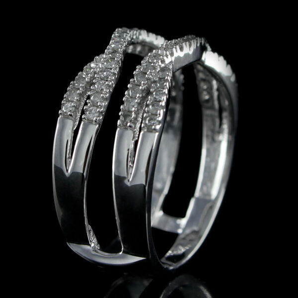 Solitaire Engagement Ring Enhancer 0.35ct Diamonds Guard Wrap in 10k White Gold