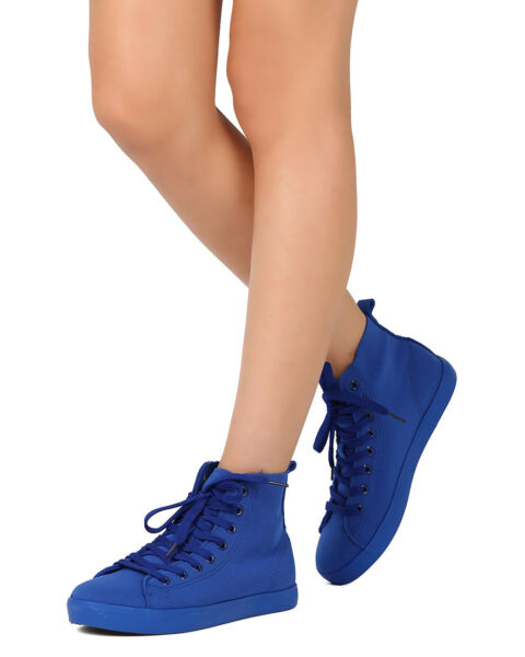New Women Qupid Semi-01 Canvas Round Toe Lace Up High Top Sneaker