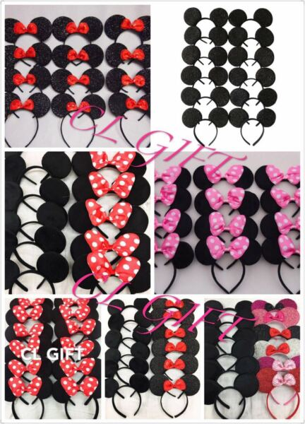 12pc Mickey Minnie Mouse Ears Headband BlackRedPink Bow Party Favors Costume