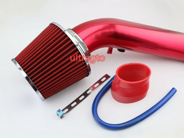 """3"""" Red 45 Degree Pipe Car Truck Turbo Piping Red Cold Air Intake System Filter"""
