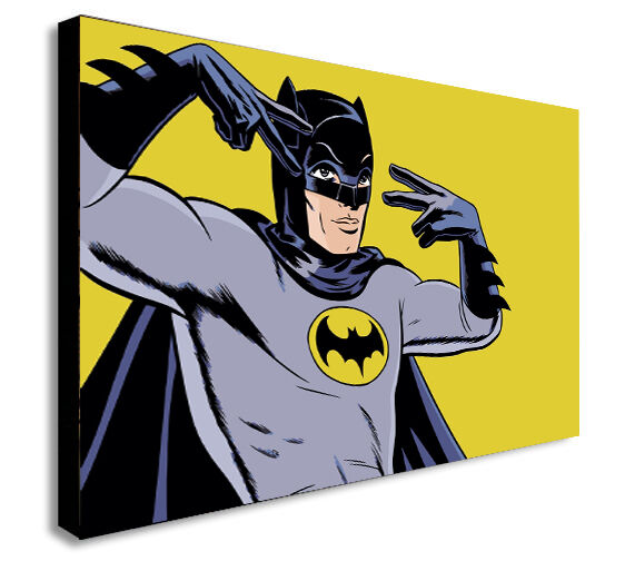 BATMAN CARTOON OLD SCHOOL RETRO Canvas Wall Art Framed Print. Various Sizes