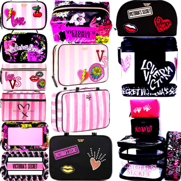 VICTORIA'S SECRET PINK STRIPED / LEO COSMETIC BLING BOMBSHELL TRAIN CARD  CASES