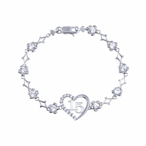 10K Solid White Gold CZ Heart Sweet 15 Bracelet - Quinceanera Anos Birthday Link