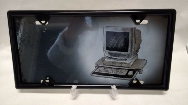 Desktop Computer Novelty Airbrushed License Plate   WITH FREE BLACK FRAME