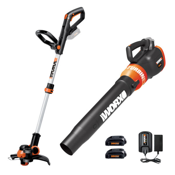 WG921 WORX 20V Cordless Combo: 2-in-1 Trimmer & Edger + Blower w/ (2) Batteries