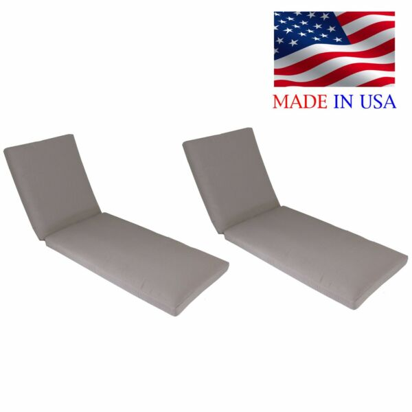 Made in USA Outdoor Chaise Lounge Cushion Pad Sunbrella Fabrics 26quot;W 2 PACK