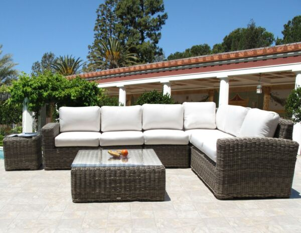 Premium Quality Outdoor Woven Wicker 6 Piece Sectional Set Sunbrella Cushions