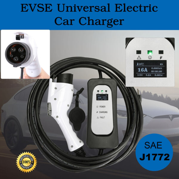 Level 2 EV Charger, 16' Cord, SAE J1772-EVSE UL Recognized
