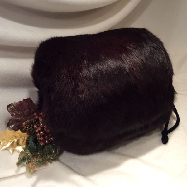 *Gorgeous* GENUINE RABBIT FUR HAND MUFF Barrel Glove Warmer - CHOCOLATE BROWN