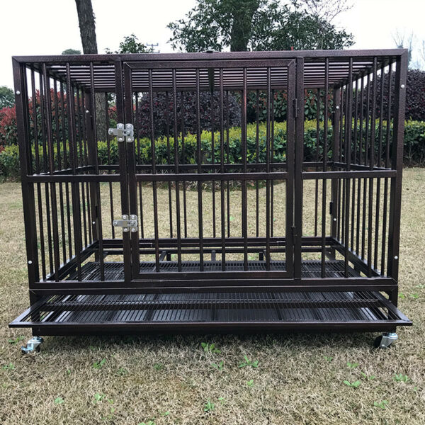 42quot; Metal Heavy Duty Dog Cage Large Pet Crate Kennel Playpen w Tray Wheels $189.99