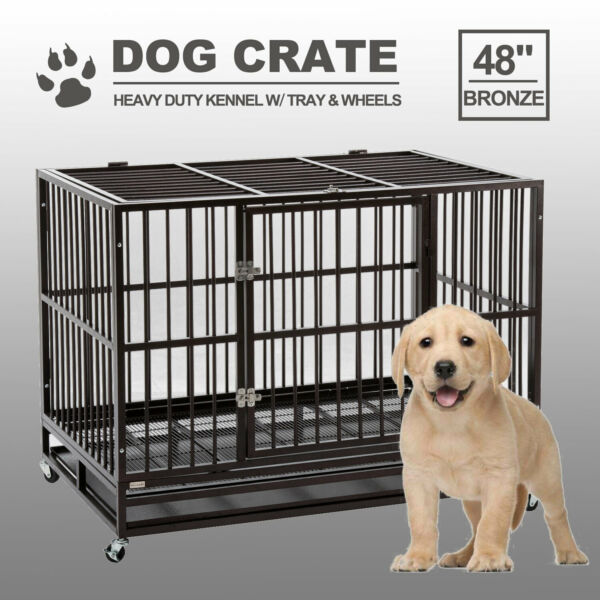48quot; Heavy Duty Pet Dog Cage Large Crate Kennel w Tray Exercise Pan Grayamp;Silver