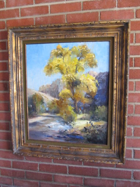 LARGE Vintage OIL PAINTING LANDSCAPE trees PALETTE KNIFE MYSTERY ARTIST FRAMED