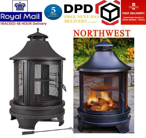 Northwest Sourcing Outdoor Log Burner Steel BBQ Cooking Pit Fire Garden NEW