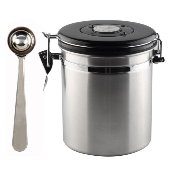 16oz Coffee Canister Airtight Stainless Steel Vacuum Seal Storage Bean Container