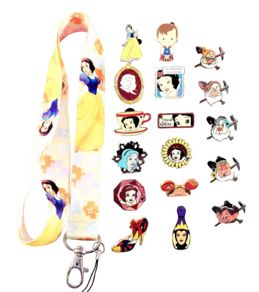 Snow White Themed Starter Lanyard Set w 5 Disney Park Trading Pins ~ Brand NEW