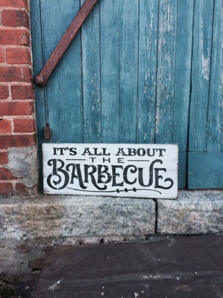 Large Rustic Wood Sign quot;Its All About The Barbecuequot; BBQ Sign Fathers Day