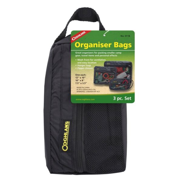 Coghlan#x27;s Organizer Bags 3 Piece Set Nylon Back Mesh Storage Camping Travel Bags $11.26