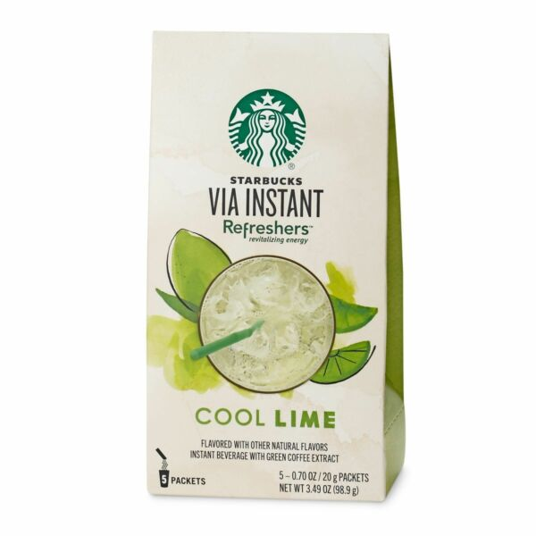 STARBUCKS Instant Via  Refreshers Cool Lime Beverage Packets Drink 2018