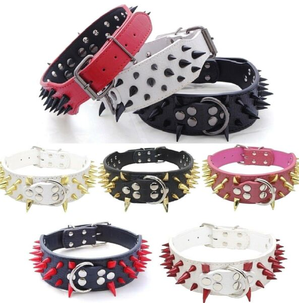 RAZOR SHARP Spiked Studded Rivet PU Leather Dog Pet Puppy Collar 2
