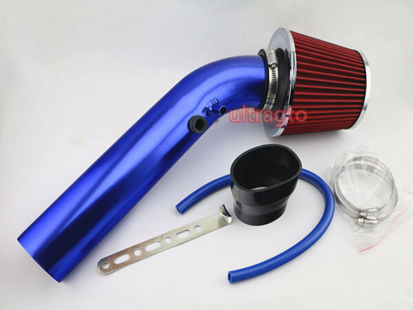 """3"""" Blue Aluminum Pipe Ram Car Truck Turbo Piping & Cold Air Intake System Filter"""